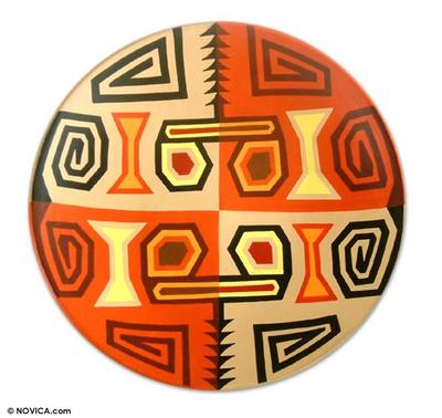 Ceramic plate, 'Inca Weavings' - Hand Made Decorative Ceramic Plate