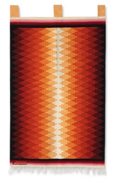 Wool tapestry, 'Radiance' - Geometric Wool Tapestry Wall Hanging