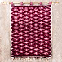 Wool tapestry, 'Red Lightning' - Hand Woven Wool Wall Tapestry from Peru