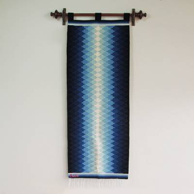 Wool tapestry, 'Blue Radiance' - Handcrafted Geometric Wool Tapestry Wall Hanging