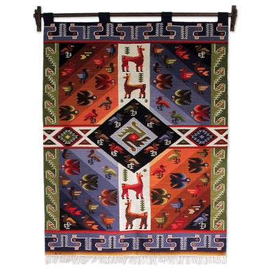 Wool tapestry, 'Nazca Animals' - Wool tapestry
