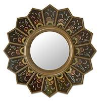 Mirror, 'Brown Sunflower Fan' - Mirror
