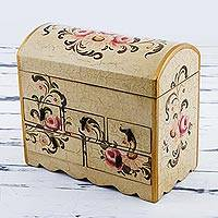 Chest of drawers, 'Rose Bouquet' - Handcrafted Wood Mini Chest of Drawers