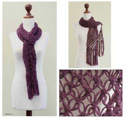 100% alpaca scarf, 'Warm Purple' - 100% alpaca scarf
