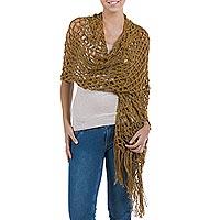 100% alpaca shawl, 'Genuine Ochre' - 100% alpaca shawl
