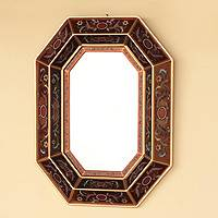 Mirror, 'Copper Lands' - Peruvian Floral Reverse Painted Glass Mirror