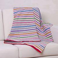 Woven throw blanket, 'Highland Spring' - Handcrafted Woven Striped Blanket and Throw