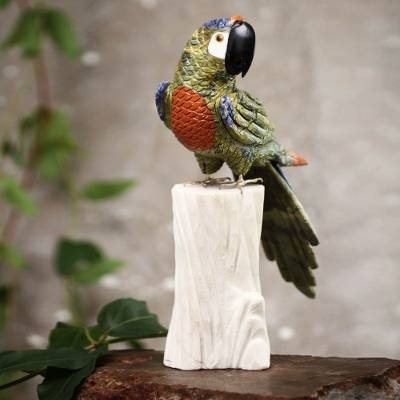 Serpentine and calcite sculpture, 'Jungle Cockatoo' - Collectible Gemstone Multicolor Bird Sculpture