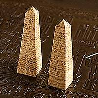 Aragonite obelisks, 'Towers' (pair) - Aragonite Obelisks Gemstone Sculptures (Pair)