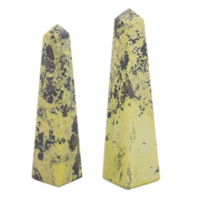 Serpentine obelisks, 'Rebirth' (pair) - Serpentine Obelisks Sculpture (Pair)