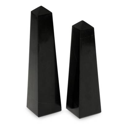 Onyx obelisks, 'Black Towers' (pair) - Handcrafted Gemstone Sculpture (Pair)
