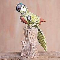 Serpentine and aragonite sculpture, 'Mountain Parrot' - Gemstone Parrot Sculpture