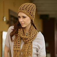 100% alpaca scarf and hat, 'Ochre Puzzles' - 100% alpaca scarf and hat