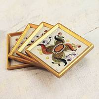 Glass coasters, 'Colonial Sand' (set of 4) - Glass coasters (Set of 4)
