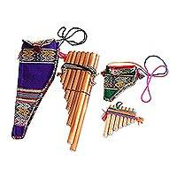 Bamboo zampona panpipes, 'Inca Serenade' (pair) - Pair of Traditional Zampona Panpipes with Carrying Cases