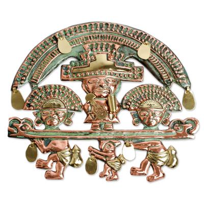 Copper wall adornment, 'Lambayeque Deity' - Copper wall adornment