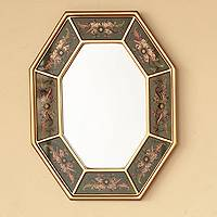 Mirror, 'Living Nature' - Green and Gold Reverse Painted Glass Wall Mirror from Peru