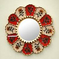 Mirror, 'Poetry' - Hand Made Reverse Painted Glass Mirror from Peru