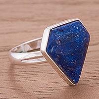 Lapis lazuli cocktail ring, 'Heaven' - Lapis Lazuli & Silver Cocktail Ring