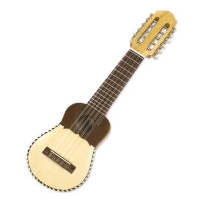 Wood charango guitar, 'Andean Song' - Authentic Andean Charango Guitar and Case