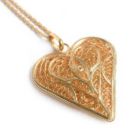 Fair Trade Heart Shaped Gold Plated Filigree Necklace