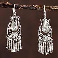 Sterling silver chandelier earrings, 'Filigree Grace' - Hand Made Sterling Silver Chandelier Earrings