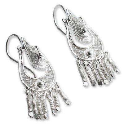 Sterling silver chandelier earrings, 'Filigree Grace' - Hand Made Sterling Silver Chandelier Earrings