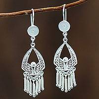 Sterling silver chandelier earrings, 'Inca Royal'