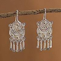 Silver filigree earrings, 'Andean Marinera'
