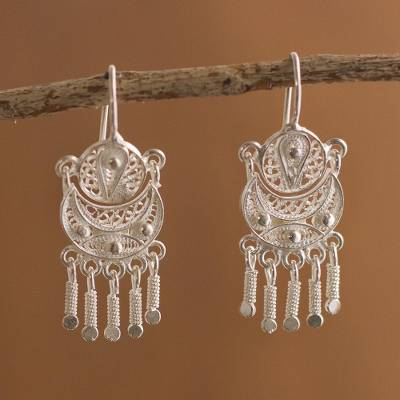 b5a11586f41c3 Silver filigree earrings, 'Andean Marinera' - Peruvian Sterling Silver  Filigree Earrings