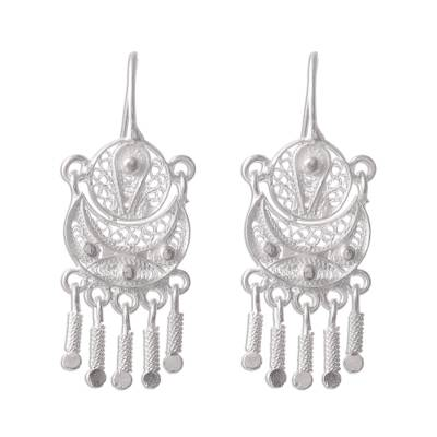 Silver filigree earrings, 'Andean Marinera' - Peruvian Sterling Silver Filigree Earrings