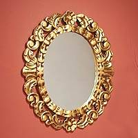 Mohena wood mirror, 'Garland' - Collectible Bronze Leaf Wood Mirror
