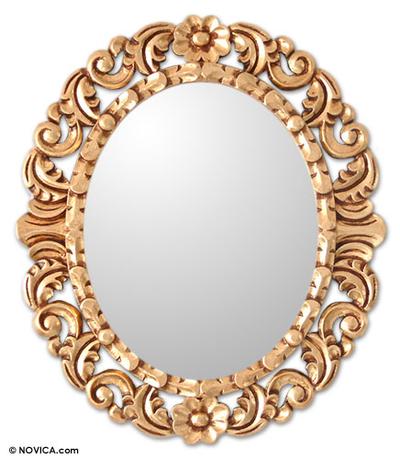 Mohena wood mirror, 'Garland' - Collectible Bronze Leaf Wood Mirror