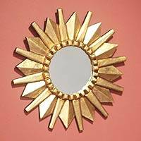 Mohena wood mirror, 'Starburst' - Sun Design Mohena Wood Wall Mirror with Bronze Leaf Finish
