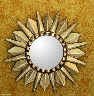 Mohena wood mirror, 'Starburst' - Sun Design Mohena Wood Wall Mirror with Bronze Leaf Finish