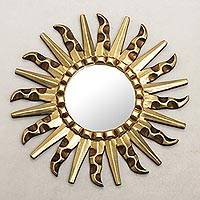 Mohena mirror, 'Bronze Sun' - Mohena Wood Modern Carved Handmade Mirror