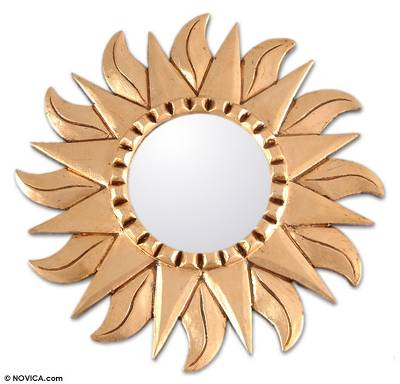 Mohena wood mirror, 'Sunflower' - Hand Made Gilded Wood Metallic Mirror