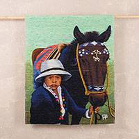 Wool tapestry, 'The Little Horseman' - Wool tapestry