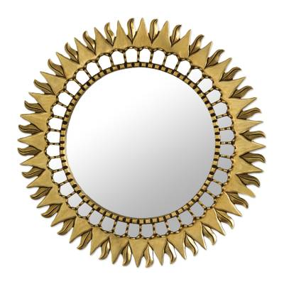 Mohena mirror, 'Inca Sunburst' - Sun Themed Bronze Leaf Artisan Wall Mirror