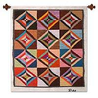 Wool tapestry, 'Inca Inspiration' - Geometric Wool Tapestry Wall Hanging