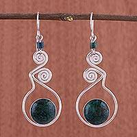 Chrysocolla dangle earrings, 'Pendulum of Time'