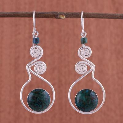 Chrysocolla dangle earrings, 'Pendulum of Time' - Chrysocolla dangle earrings
