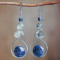 Lapis lazuli dangle earrings, 'Pendulum of Time' - Unique Handcrafted Lapis Lazuli Dangle Earrings
