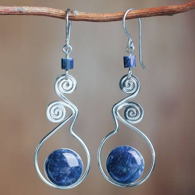 Lapis lazuli dangle earrings, 'Pendulum of Time' - Modern Sterling Silver Dangle Lapis Lazuli Earrings