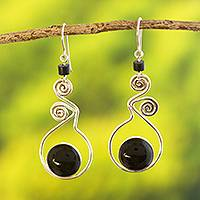 Obsidian dangle earrings, 'Pendulum of Time'