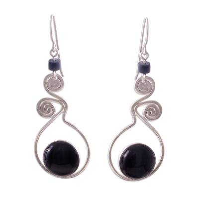 Obsidian dangle earrings