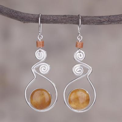 Opal dangle earrings, 'Pendulum of Time' - Opal dangle earrings