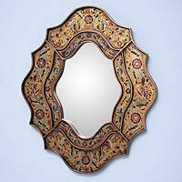 Mirror, 'Song of Spring' - Reverse Painted Glass Floral Handmade Mirror