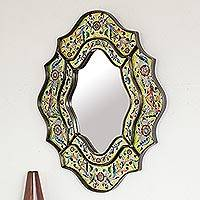 Reverse painted glass mirror, 'Verdant Spring' - Ornate Handmade Reverse Painted Glass Bird Mirror