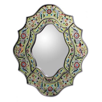 Reverse painted glass mirror, 'Verdant Spring' - Hand Made Reverse Painted Glass Bird Mirror